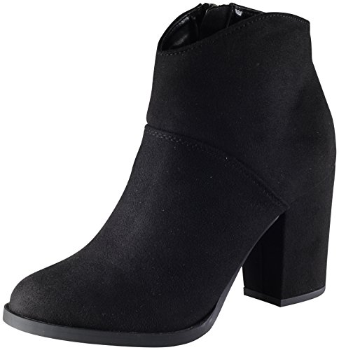 Black Stacked Classified Bootie Chunky Ankle Western Heel Women's City Block q1Sv66