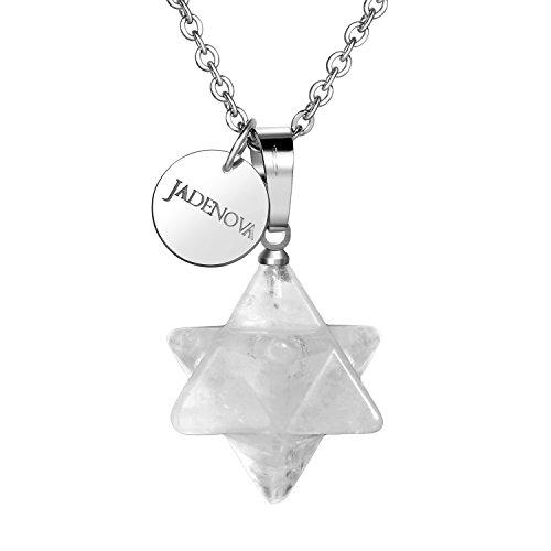 JADENOVA 3D Merkaba Star Necklace Natural White Gem with Stainless Steel ()