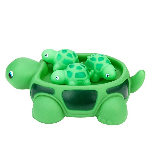Fun & Educational Toys - Unisex Bath Toys - Bath Tub Floating Toy - Shrilling Scream Sound Swimming Toy - Cute Sea Turtle Family Bathtub Pals - Rubber Bath Squirt Toys for Toddlers & Kids ,Set Of 4