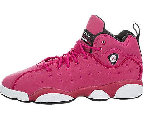 Jordan 820276-600: Jumpman Team II GG (GS) Red Rush Pink Black White Sneakers (5 M US Big Kid)