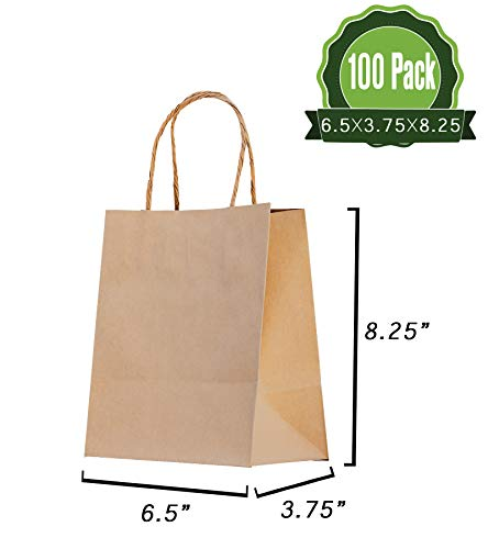 Brown Kraft Paper Gift Bags Bulk with Handles 100Pc [ Ideal for Shopping, Packaging, Retail, Party, Craft, Gifts, Wedding, Recycled, Business, Goody and Merchandise Bag] -
