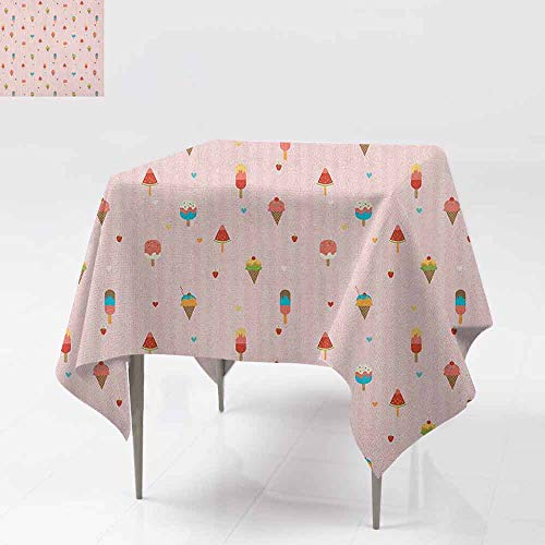 AndyTours Spillproof Tablecloth,Ice Cream,Pastel Pink Striped Backdrop with Hearts Different Toppings on Sticks and Cones,Great for Buffet Table, Parties& More,36x36 Inch Multicolor]()