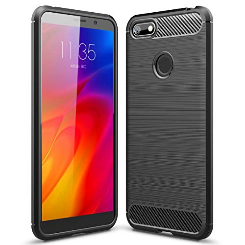 Moto E6 Play Case, Ikwcase Flexible Soft TPU Brushed Non Slip Shockproof Protective Case Cover for Motorola Moto E6 Play Black