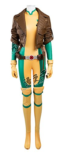 [Mtxc Women's X-Men Cosplay Costume Rogue Full Set Size Medium Yellow] (Women X Men Costumes)