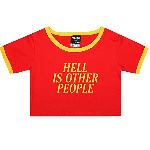 Hell Is Other People Ringer Tee Crop T-Shirt Fun Women's Tumblr Grunge Goth Kawaii (Ringer People)