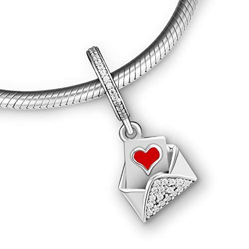 CKK 100% 925 Sterling Silver Letter to Lover Charm,Red Enamel & Clear CZ DIY Fits for Pandora Bead Bracelet for Women DIY Jewelry Making Valentine Day Gift - Enamel Love Letter Charm