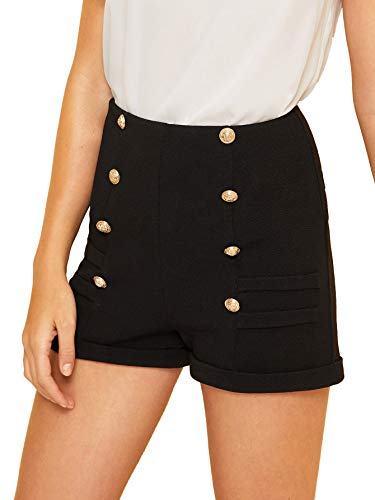 (WDIRARA Women's Elegant Pocket Detail Double Breasted Rolled Hem Shorts Black)