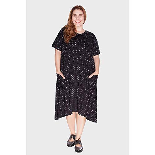 Vestido Evasê Com Bolsos Poá Plus Size Preto-60/62