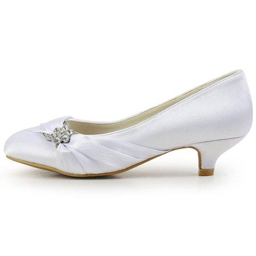 Elegantpark Femmes Bout Fermé Confort Talon Strass Satin Mariage Chaussures De Mariée Blanc