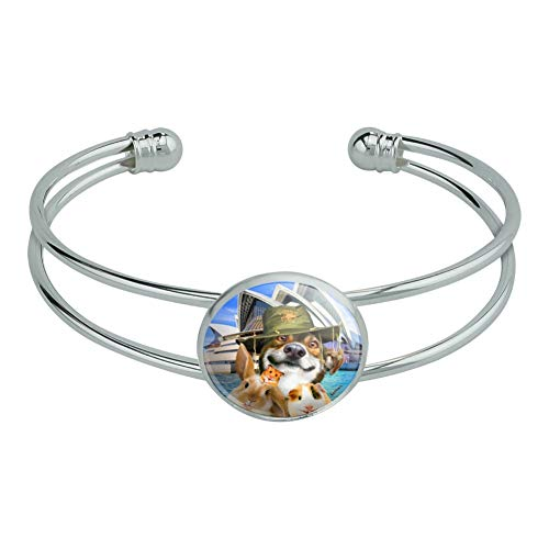 GRAPHICS & MORE Sydney Opera House Australia Dog Rabbit Guinea Pig Novelty Silver Plated Metal Cuff Bangle Bracelet -