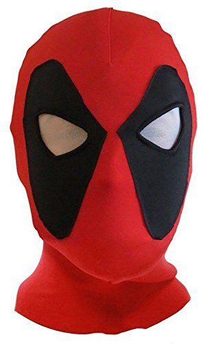 ATHX Red & Black Spandex Cosplay Headwear Red Halloween Cosplay Mask Costume (One Size, Red & Black)