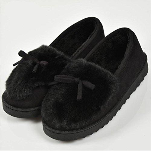 Cotone Indoor Fiocco Super Morbido Inverno Mhgao Autunno E Pantofola Black Pantofole Caldo Casual Donna Peluche Pqw0fTt7