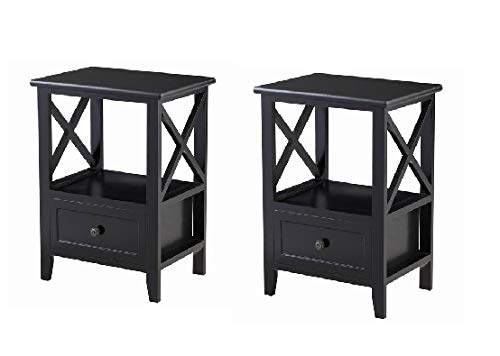 (Giantex Nightstand Set of 2 End Tables W/Storage Shelf and Wooden Drawer for Living Room Bedroom Bedside Accent Home Furniture Side Table)