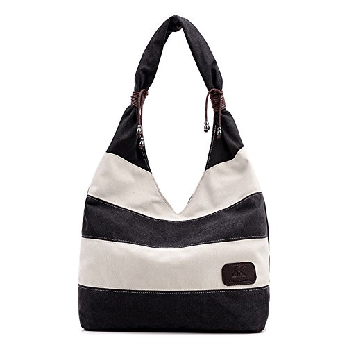 Saumota Fashion Striped Tote Bag Handbags Canvas Bag Shoulder Bag Top Handle Bag-Black/ (Black Striped Handbag)