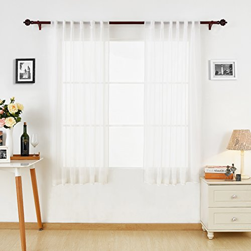 Deconovo White Sheer Curtains Back Tab Linen Look Transparent Curtain Voile Curtains for Bedroom Curtains for Spring 52W x 63L White 2 Panels
