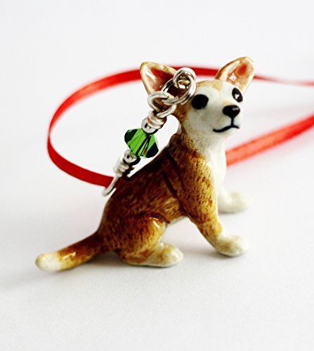 Chi Christmas Ornament (Chihuahua Dog Christmas Ornament Puppy Tree Decor Porcelain Animal Charm)