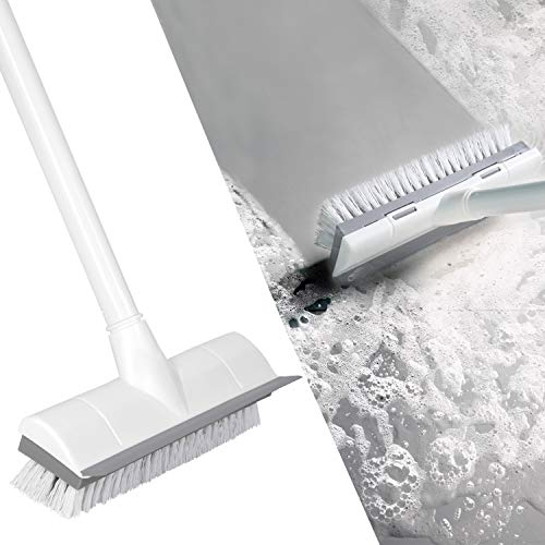 BOOMJOY Floor Scrub Brush with Long Handle 50″, Adjustable Stainless Metal Handle, Scrubber with Stiff Bristles for Cleaning Tile, Bathroom, Tub, Bathtub and Patio