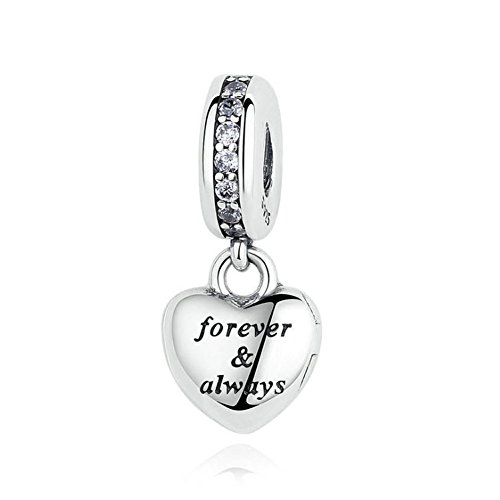 (Romántico Amor My Beautiful Wife Forever&Always Dangle 925 Sterling Silver Charms fit Pandora Bracelet&)