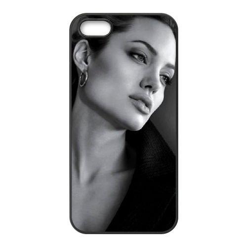 Angelina Jolie Actress coque iPhone 5 5S cellulaire cas coque de téléphone cas téléphone cellulaire noir couvercle EOKXLLNCD21651