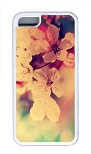 Fuzzy Flowers Red White TPU Case Cover for iPhone 5C White