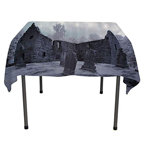 - Gothic Decor Collection, Table ClothsOld Gothic Cemetery Church Tomb and Tombstone Mysticism Spooky Forest Style, Home Decoration Outdoor, 36x36 Inch Cloudy Grey