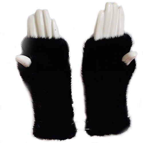Mink Fur - Valpeak 8'' Womens Winter Mittens Knitted Mink Fur Fingerless Gloves (Black)