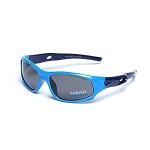YAMAZI Children Sports Polarized Sunglasses For Kids Boys Girls Rubber Flexible Frame Sunglasses UV Protection (Blue/Purple, Grey)