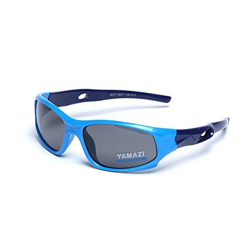 YAMAZI Children Sports Polarized Sunglasses For Kids Boys Girls Rubber Flexible Frame Sunglasses UV Protection (Blue/Purple, - Sunglasses Boys