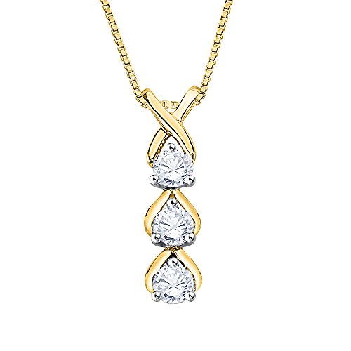 - KATARINA Three Diamond Pendant Necklace in 10K Yellow Gold (1/4 cttw) (Color-I, Clarity-SI3-I1)