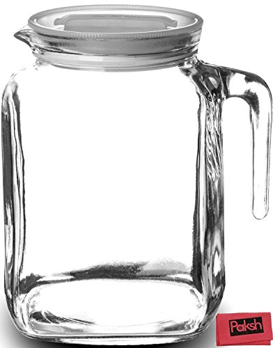 Hermetic Seal Glass Pitcher With Lid and Spout [68 Ounce]