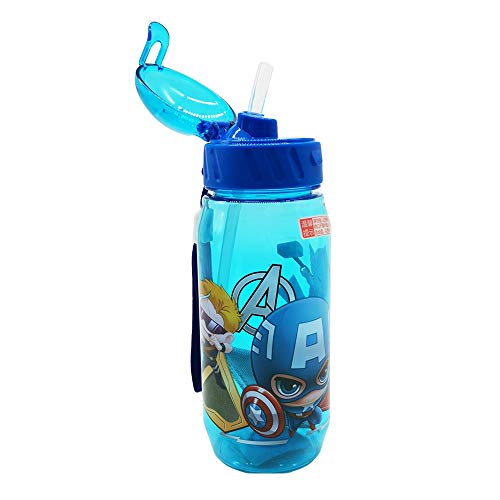 Runninglion Kids Water Bottle with Straw 15.5 oz Leak Proof BPA Free Captain American Cup for School Children Student Birthday (Captain) (Captain Bottle)