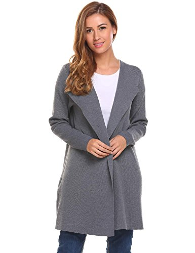 Cashmere Sweater Coat - ThinIce Women's Casual Open Front Knit Cardigan Long Sleeve Sweater Coat