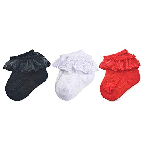 Epeius 3 Pair Pack Newborn Baby-Girls Eyelet Frilly Lace Socks Princess Ankle Socks for 0-3 Months,Black/White/Red]()