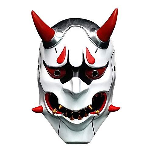 Resin Demon Prajna Mask, Deluxe Scary Halloween Japanese NOH Ghost Cosplay Helmet (One Average Size) ()