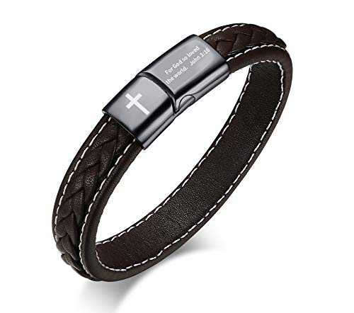 MEALGUET John 3:16 for God so Loved The World Bible Verse Inspirational Cross Genuine Braided Leather Cuff Bracelet Christian Jewelry