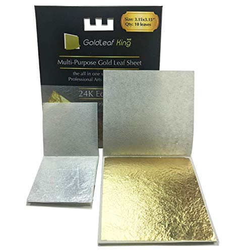 (99.99% Purity Large 10 x 24K Edible Gold Leaf Sheets 3.15 x 3.15 inches Goldleafking for Cooking, Cake & Chocolate, Arts, Food Decoration, Golden Chicken Gilding, Multi-Purpose + Free Silver Leaf x 10)