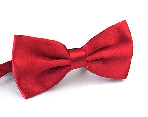 Colored Tuxedo Shirts - Men's Pre Tied Bow Ties for Wedding Party Fancy Plain Adjustable Bowties Necktie (Purplish Red)