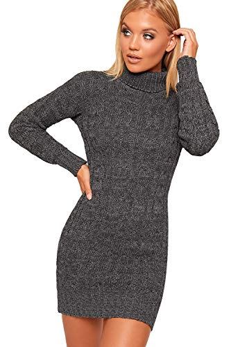 WearAll Women's Polo High Neck Long Sleeve Cable Knitted Jumper Dress Ladies Bodycon Mini 8-22