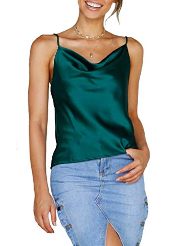 Famulily Women Silk Cami Vest Cowl Neck Sleeveless Backless Halter Spaghetti Strap Tank Top Emerald M