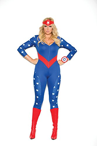 [Plus Size American Hero Costume Jumpsuit, Wrist Band & Head Piece Only, Red/White/Blue, 3X/4X] (Red Jumpsuit Costume)