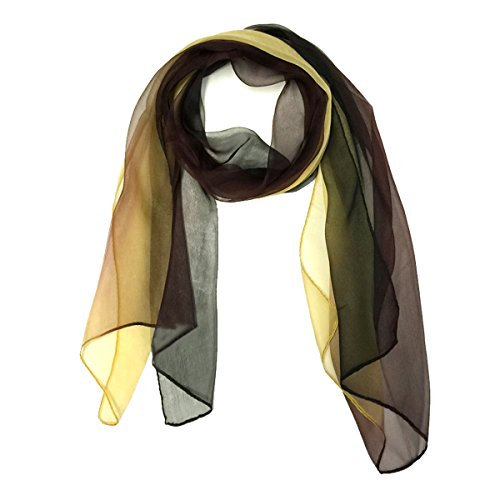 Wrapables Silk Blend Long Scarf, Dark Chocolate with Caramel Scarf Dark Chocolate