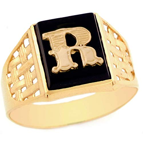 10k Yellow Gold Bold Black Onyx Mens Elegant Basket Weave Initial Letter R Ring - Size 8.75