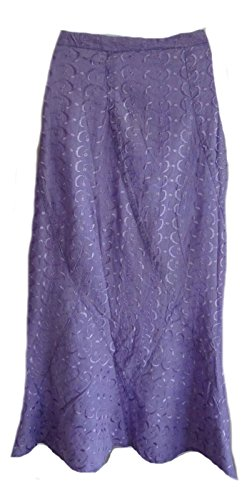 SACRED THREADS Purple Embroidered Acid wash Skirt Career Patch (Embroidered Eyelet Skirt)