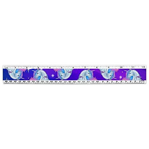 Majestic Unicorn - Regla de plástico estándar y métrica, color rosa, púrpura, azul (30,48 cm)