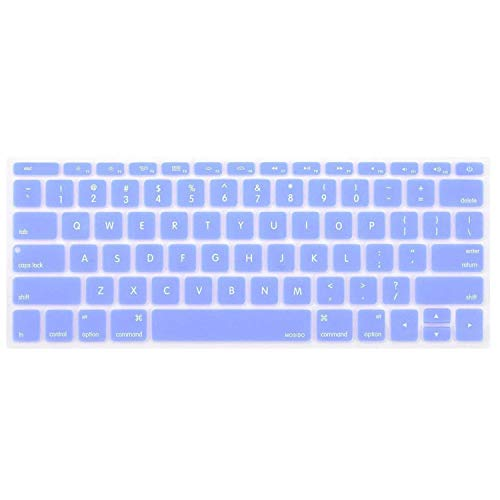 MOSISO Silicone Keyboard Cover Compatible MacBook Pro 13 Inch 2017 & 2016 Release A1708 Without Touch Bar, MacBook 12 Inch A1534 Protective Skin, Serenity Blue