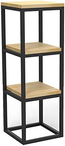 Djyyh 北欧のシンプルな錬鉄本棚ソリッドウッドマルチレイヤは、装飾的なディスプレイには、ガーデン、バスルーム、リビングルーム、ウッドルックアクセント家具メタルフレームをスタンドラック (Color : 3 Tier)