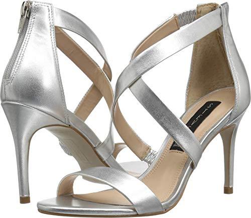 Silver Juniors Sandals - STEVEN by Steve Madden Women's NEY Heeled Sandal, Silver/Metallic, 9 M US