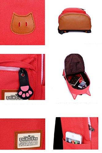 Fashion Plaza 2014 El Diseno de Oreja de Gato las Chicas de Escuela Secundario Mochila para Escuela Camping Viaje Ordenador Bolso Polivalente de Lona Muchos Colores C5004 (verde) rosa