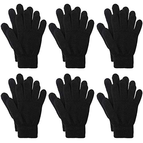 Magic Stretchy - Motarto 6 Pairs Winter Warm Gloves Knitted Magic Stretchy Gloves Adult Full Finger Gloves for Men or Women (Color A, Length 8.3 inches)