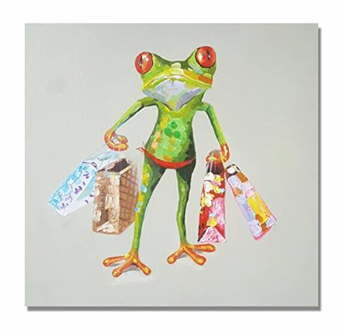 Frog Paintings 100% Hand Painted Cute Animal Canvas Oil Painting Stretched and Framed Ready to Hang Living Room Bedroom Office Bathroom 24'' x24'' by Paimuni (Image #6)